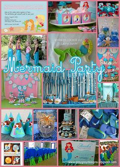 "mermaid party - mermaid tail towels, maybe even have a ""real"" mermaid!!  hee hee"