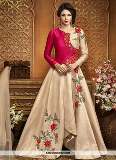Stand out from rest with this #beige and #rose #pink #art #silk #asymmetrical #designer #salwar #suit.