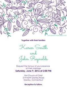 Nature border wedding invitation template - free to download and free to print on demand.