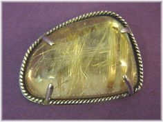 48 Ct Golden Rutilated Tourmaline Quartz - Rare 1970 Handcrafted Sterling Silver Brooch - FREE SHIPPING by FindMeTreasures on Etsy