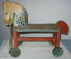 Antique Toy - Wood Riding Horse - 1930's - 1940's