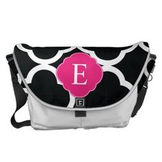 Black Pink Quatrefoil Monogram Courier Bags #PinkAndBlackObsession