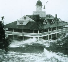 Edgewood Yacht Club in Cranston, Rhode Island withstands the storm surge from Hurricane Carol.   Worst Hurricanes in New England History