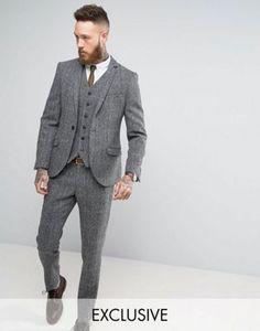 Heart & Dagger Harris Tweed Skinny Suit in Grey