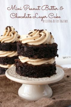 Mini, Peanut Butter, Chocolate, Layer, Cakes, Dessert
