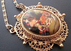 Vintage Signed Florenza Pendant Necklace by BrightgemsTreasures, $34.50