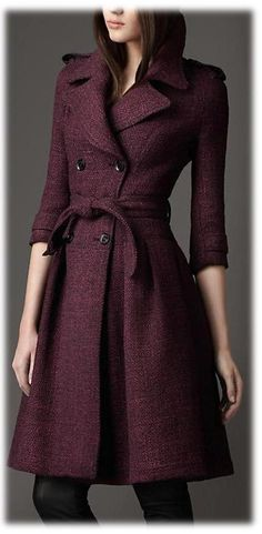 Burberry Full Skirted Tweed Coat in Purple (elderberry) - Lyst Burberry Coat, Burberry Outlet, Burberry Women, Tweed Coat, Tweed Jacket, Winter Mode, Dark Winter, Fashion Clothes, Trench Coats
