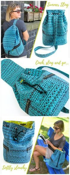 Summer sling bag - ideal for country walks. I& making them for me, hubby and the kids, then the kids can use them for school. Bag Patterns To Sew, Sewing Patterns Free, Free Sewing, Free Pattern, Crochet Pattern, Sacs Tote Bags, Sling Bags, Crochet Shell Stitch, Free Crochet