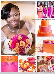 nigerian wedding fuchsia pink and orange wedding color scheme.