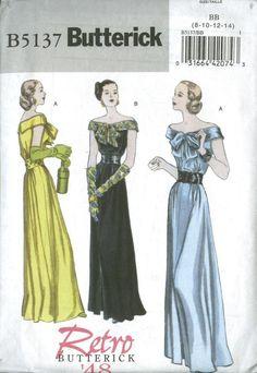 Butterick 1948 evening gown patterns. Love