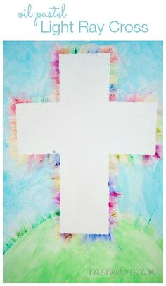 Colorful Light Ray Cross ~ Easter Cross Oil Pastel Kids Art