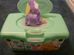 Wipes-in-a-box!  DIY baby toy to keep baby from wasting all your wipes!