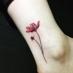 Watercolor flower on ankle by Hongam
