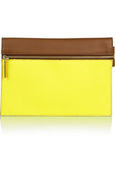 Victoria Beckham Two-tone leather clutch | NET-A-PORTER