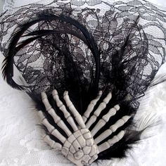 I found 'Goth Wedding Feather Fascinator Black Lace Veil with Skeleton Hands Hair Clip' on Wish, check it out! Skull Wedding, Gothic Wedding, Bride Accessories, Gothic Accessories, Wedding Themes, Wedding Ideas, Wedding Attire, Wedding Stuff, Dream Wedding