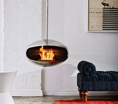 Suspended fireplace.
