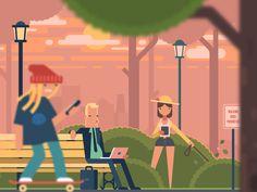 Dribbble - Summer Park by Alexey Kuvaldin