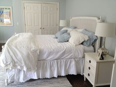Benjamin Moore Glass Slipper one of my fave colors ever. photos don't do… Bedroom Furnishings, Furniture, Beautiful Bedrooms, Discount Bedroom Furniture, Bedroom Paint, Guest Bedrooms, Bedroom Flooring, Home Decor, New Room
