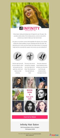 Get this astonishing email template specially designed for beauty & hair salon businesses for spreading their make-up and beauty services to their clients Email Template Design, Email Templates, Newsletter Templates, Infinity Hair, Salon Business, Hair And Beauty Salon, Email Newsletters, Free Hair, Cut And Style
