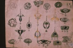 Gustav Gaudernack design for David Andersen. Watercolor and pencil scetches of silver /enamel and Pearl pins and pendants. 1904-1910