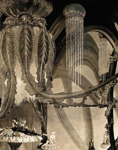 The undersea 'Realm of Glass' set from The Thief of Bagdad (1924, dir. Raoul Walsh) Art direction by William Cameron Menzies. To prepare the set for the underwater world, a family of artisans spent three months hand-blowing the required glass pieces. (via)
