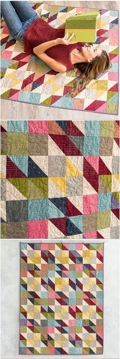 Charm Star Tailors Tack Quilt by Craftsy. Scrappy star quilt. Half square triangle charm quilt featuring Boundless fabrics. affiliate link.