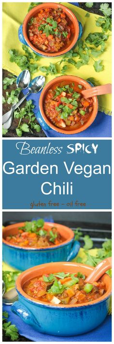 "Spicy Vegan Chili - all veggies, no beans!! Taking full of advantage of your summer garden bounty! Make it as spicy (or not) as you want. Super hearty and ""meaty"" and incredibly healthy!! Dairy free, gluten free and vegan!"