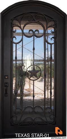 http://porteusa.com/ Wrought Iron Single Door -Texas Star 1 Eyebrow by Porte