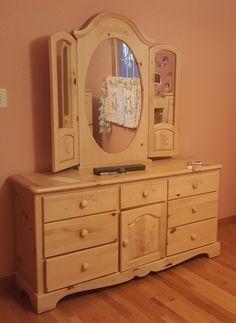 Pine Dresser, Dresser With Mirror, Vanity, Farmhouse, Floral, Furniture, Home Decor, Dressing Tables, Powder Room