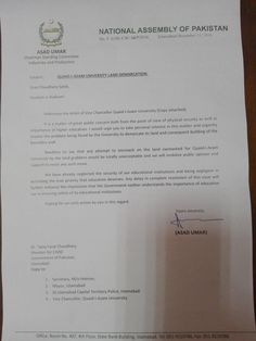 """""""My letter to minister CADD regarding threat of encroachment of Quaide Azam university land. First the attempt to grab NARC land now QAU"""" Pakistan Politics, University, Letter, Community College, Letters, Writing, Colleges"""