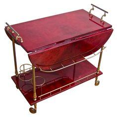 Aldo Turo Vermillion Lacquered Goatskin Italian Brass Bar Cart