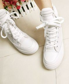 White High Top Sneakers - Footwear