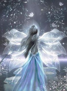 blue fantasy angel   ANGELS, FANTASY,gothic,dark angels