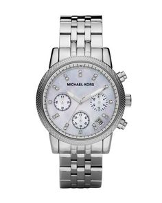 Mid-Size Silver Color Stainless Steel Ritz Chronograph Glitz Watch by Michael Kors at Neiman Marcus.