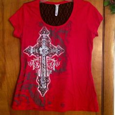 Rhinestone Cross❤️ Top w/Lace Panel Red❤️Rhinestone Cross top❤️with black lace panel across the back❤️Ladies Large❤️Xtra Large❤️worn handful of times❤All rhinestones intact,all through the cross❤️Like new️🚫No trades❤️Bundle❤️Please use offer button via all listings❤️Thanks💋 Ransom Tops Tees - Short Sleeve