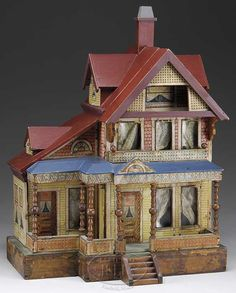 Seaside vintage doll house, I like the shape of this house, soft colors…
