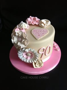Pink roses90th birthday cake Lynns Creative Cakes LLC