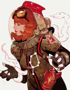 retro-futurism-space-girl-art-from-sachin-teng -- i especially love how impracti. Diesel Punk, Art And Illustration, Illustration Editorial, Editorial Layout, Character Concept, Character Art, Concept Art, Comic Kunst, Comic Art