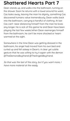 I hoped you liked this. That was the last part of the story. Let me know if you want more. All parts of the story are on my account, @TheDemonsBoyfriend under my 'Headcannon Ideas' board. Let me know what you think of this.