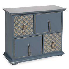 Boîte 4 tiroirs bleue MILORD