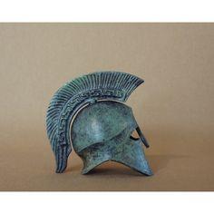 bronze helmet with Greek key crest
