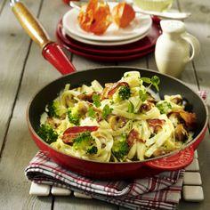 Bandnudeln mit cremiger Brokkoli-Speck-Soße Rezept   LECKER