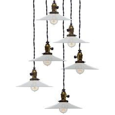 Matching Set of 6 Mini Milk Glass Pendent Lamps  USA 1920-30's  The most popular and versatile early industrial lighting has to be the simple and elegant milk glass shade.