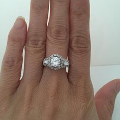 Big 1 Carat Cubic Zirconia Halo Engagement Ring with Baguette Stones