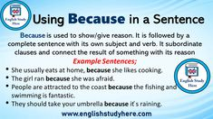 Using Because in a Sentence - English Study Here English Idioms, English Grammar, English Language, Tenses English, Foreign Language, English Lessons, Teaching English, English Study, Learn English