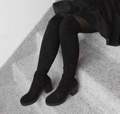 Our Khloe Stretch Over The Knee Boots In Black Straight From Bio
