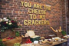 Wedding reception cheese and charcuterie display |Fields & Skies