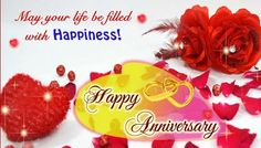 Happy Anniversary Greeting E-card ! Roses, Heart, Animated Beautiful Greetings ! Anniversary wishes greeting ! Best Anniversary Greeting ! Happy wedding anniversary greetings !
