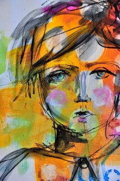 Dina Wakley and her faces ~ http://dinastamps.typepad.com/ponderings/2014/07/sharing-a-little-drawing.html