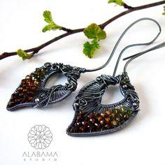 Wiosenne listki - srebrne kolczyki wire-wrapping z turmalinami / Alabama / Biżuteria / Kolczyki